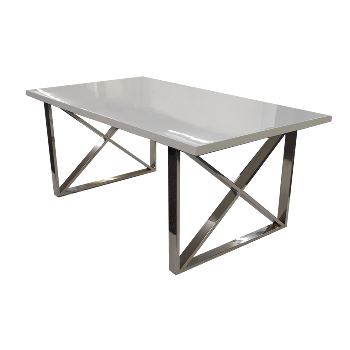 Clarion Dining Table 1.6 x 0.9 High Gloss White
