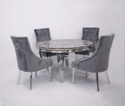 1.3m Round | Dark Grey Marble | Louis Dining Set | Duke Chairs