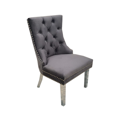 Diana Double Studded Chair (Plain Back, Ring Knocker) - Dark Grey