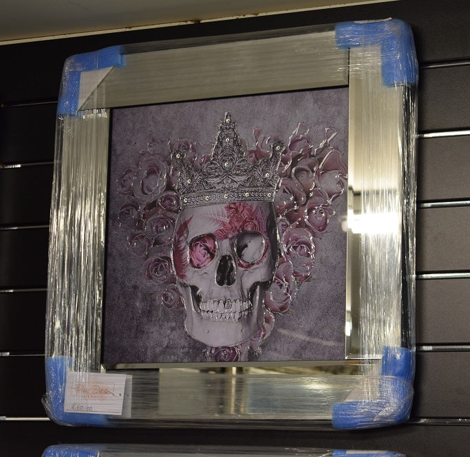 Skull Artwork with Pink Rose and Diamante Detail