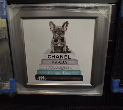 Teal Frenchie on Books Artwork