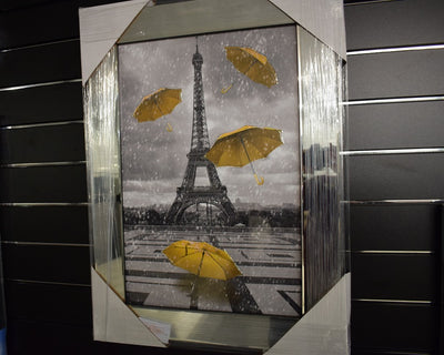 Paris with Yellow Umbrellas Artwork