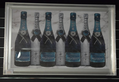 Moet Bottles in Teal Label Artwork