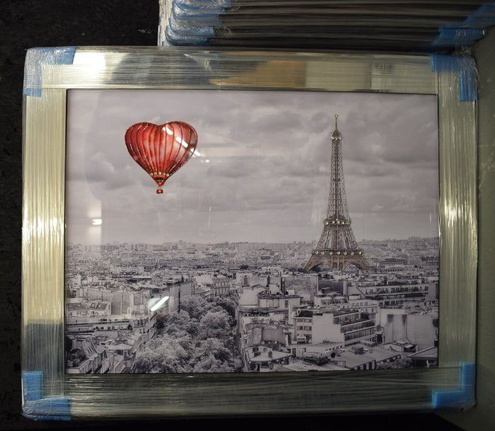 Heart Air Balloon in Paris Artwork