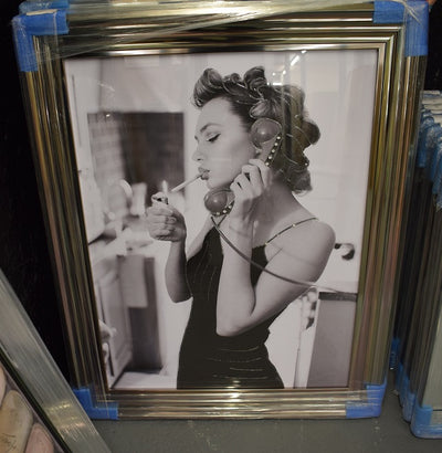 Lady with Cigarette on the Phone (Metallic Lyon Frame)