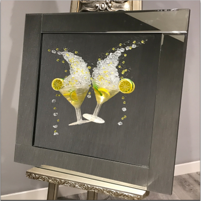 2 Martini Glasses & Lemons 3D Artwork