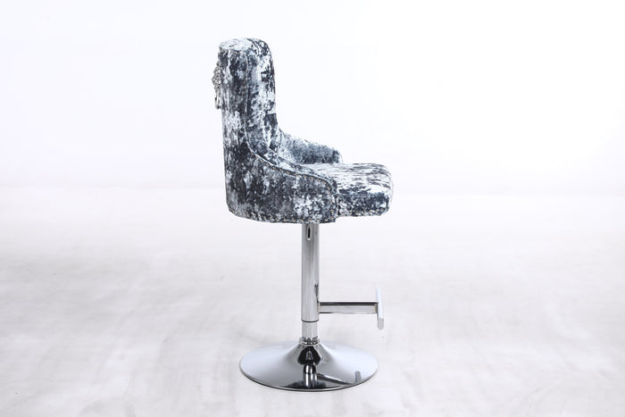 Duke Plain Back Lion Knocker Bar Stool Stainless Steel Pedestal Silver Double Crushed Velvet