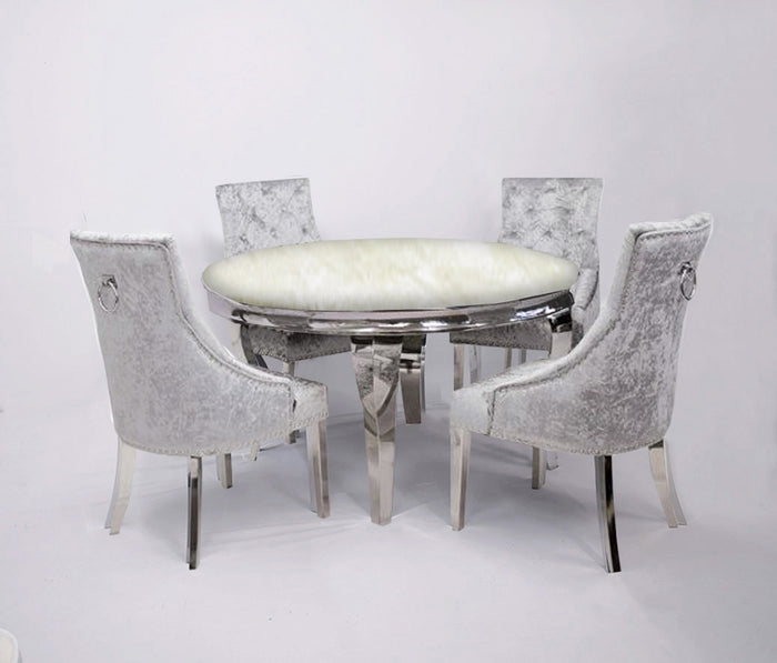 1.3m Round | Ivory Smoke Marble | Louis Dining Set | Duke Chairs