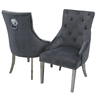 Bentley Chair (Quilted Back, Lion Knocker) - ALL COLOURS