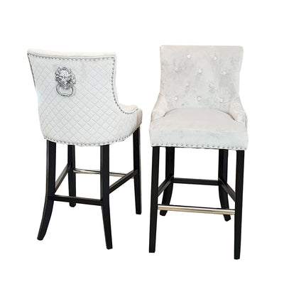 Alexander BAR STOOL (Quilted Back, Lion Knocker)