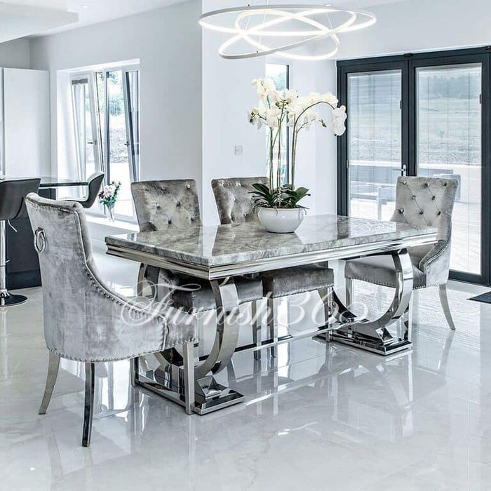 1.8m | Light Grey Marble | Arianna Dining Set | Duke Chairs