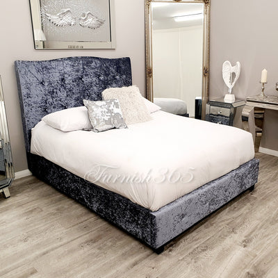 Velvet 1613 Double Bed Dark Silver