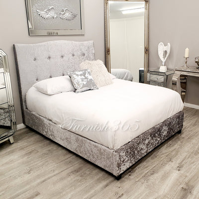 Velvet 1613 Double Bed Light Silver
