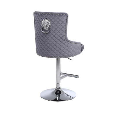 Bentley Quilted Back Lion Knocker Bar Stool
