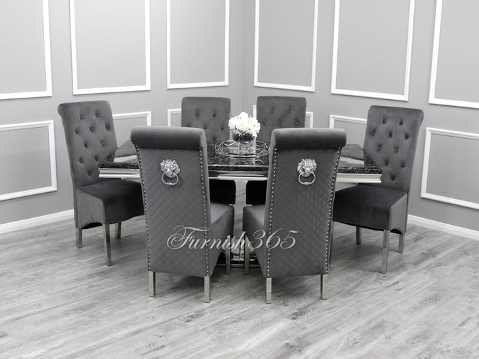 1.8m | Black Marble | Arial Dining Set | Emma Chairs