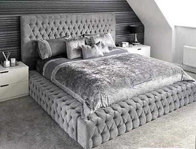 Celeb Bed King Size Dark Grey Velvet - DIAMANTES