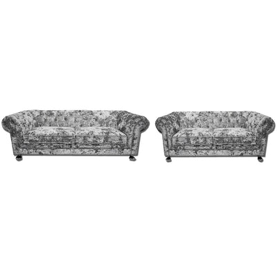 Chesterfield 3 + 2 Silver Double Crushed Velvet