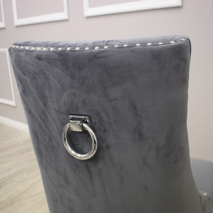 Diana Plain Back Ring Knocker Double Studded Dining Chair Dark Grey Velvet