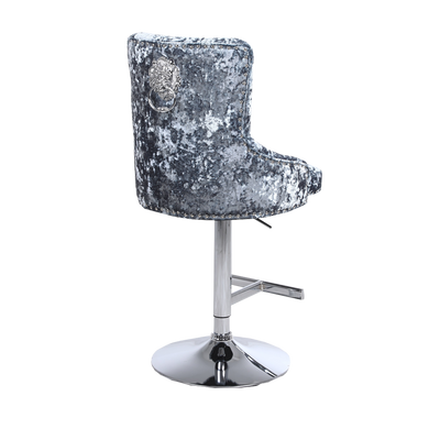 Duke Lion Knocker Bar Stool | Silver Double Crushed Velvet