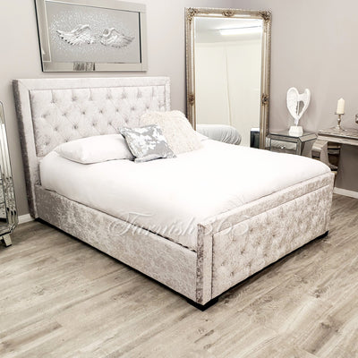 Florence 3514 Double  Bed Grey Velvet