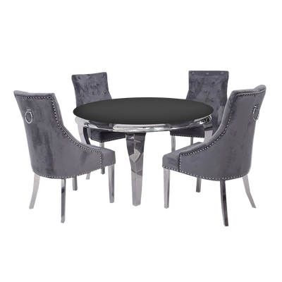 1.3m Round | Grey Glass | Louis Dining Set | Duke Chairs