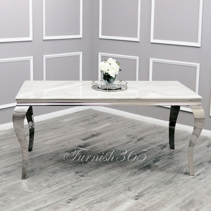 1.8m | Ivory Smoke Marble | Louis Dining Set | Emma Chairs