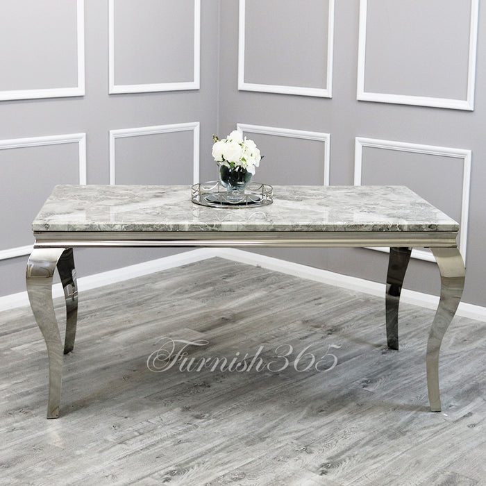 1.4m | Light Grey Marble | Louis Dining Set | Emma Chairs