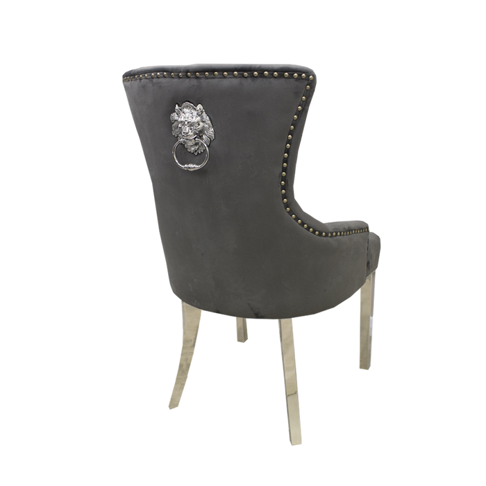 Megan Plain Lion Knocker Dark Grey Velvet Chair