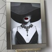 Woman with Black Hat & Red Lips Artwork