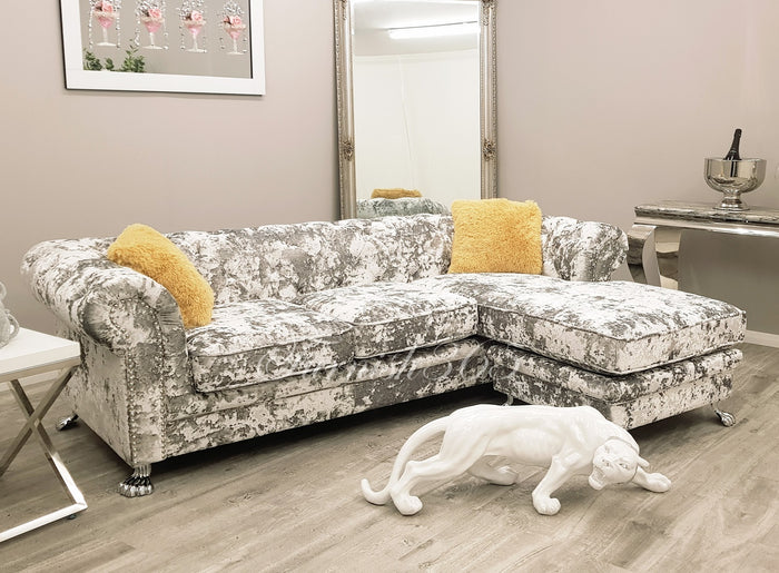 Chesterfield 3 Seater Chaize Silver Double Crushed Velvet