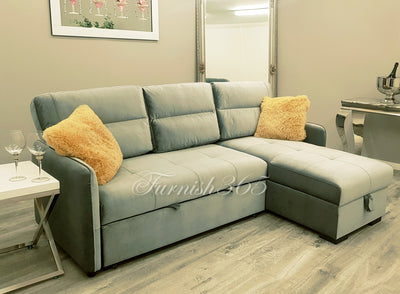 Chantelle Sofa Bed Grey Velvet