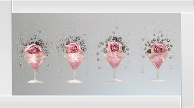 4 x Martini glasses with Roses (lyon)