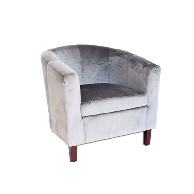 Tub Chair Light Grey Velvet