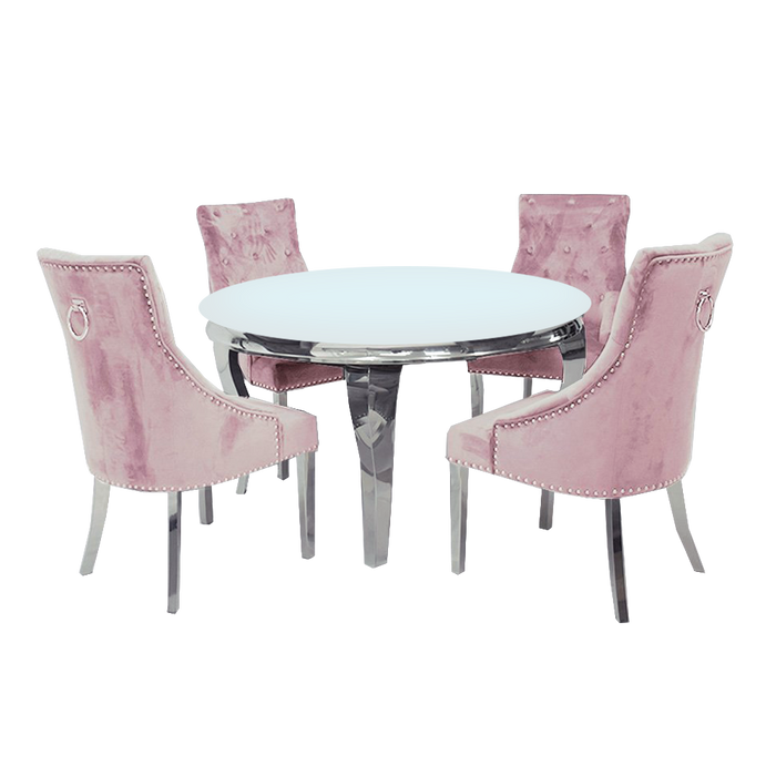 1.3m Round | White Glass | Louis Dining Set | Duke Chairs