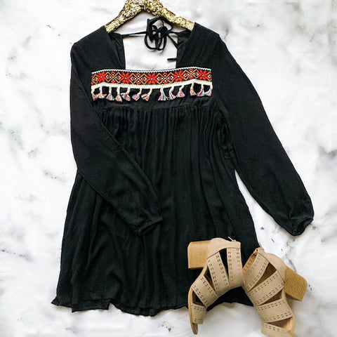 All the Vibes Black Tunic Dress