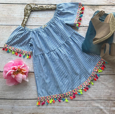 Bahama Breeze Tassel Top