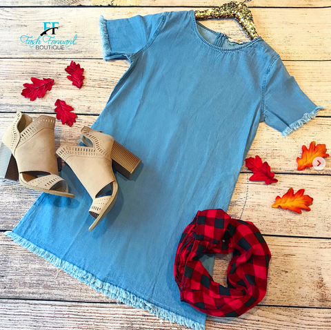 Lesson Learned Denim Dress