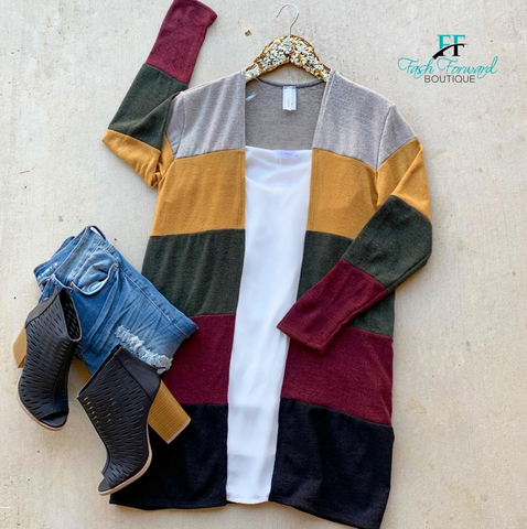 Colorblock Blues Cardigan