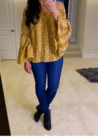 Mustard Seed Off the Shoulder Top