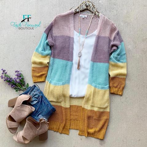 Spring Air Colorblock Cardigan