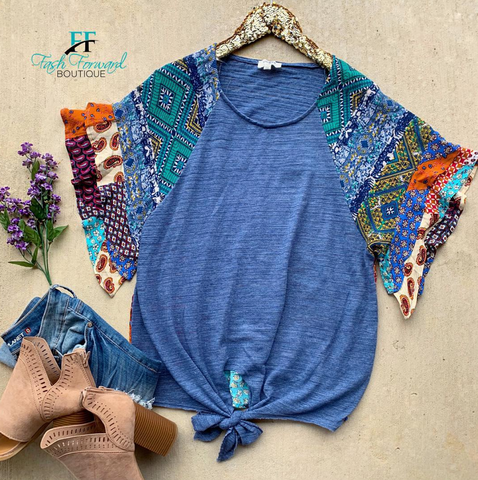 Patchwork Blue Top