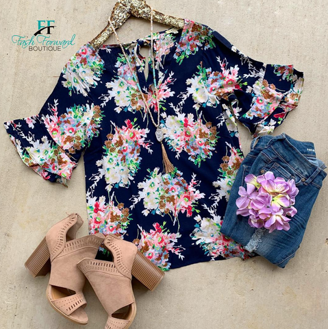 Walking Over Navy Floral Top
