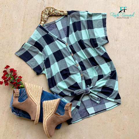 Coming Over Mint Plaid Top