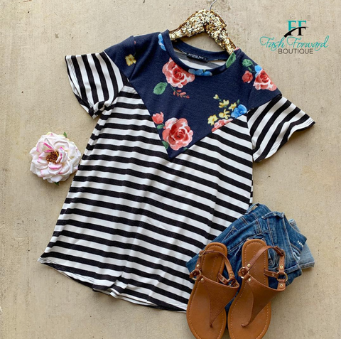 Contact Me Striped Floral Top