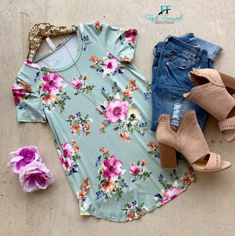 Love Everywhere Mint Floral Top