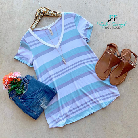 Good Image Striped Mint Top