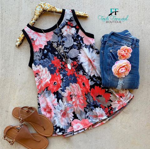 Feeling Good Waffle Floral Top