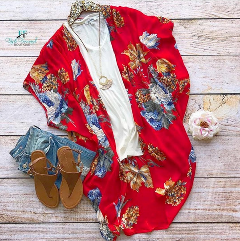 Pre-order: Tropical Vibes Red Kimono
