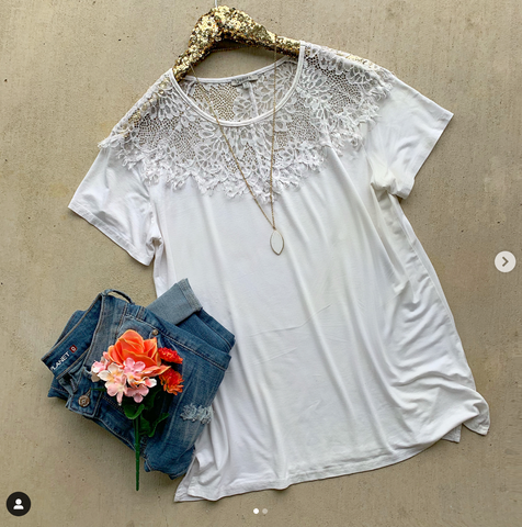 Keep it Together White Lace Top