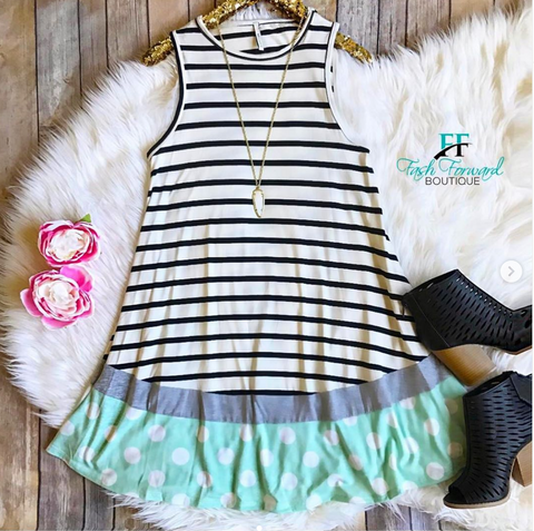 Smooth Sailing White and Mint Dress